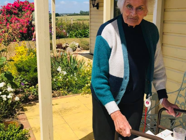 Thelma in the garden | Country Lodge Nursing Home in West Sussex