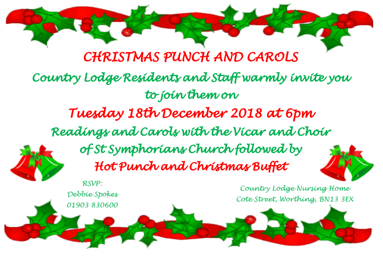 Christmas Punch and Carols | Nursing Homes West Sussex | News